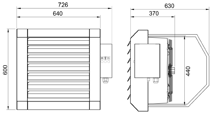 Elektrinio šildytuvo LEO EL matmenys
